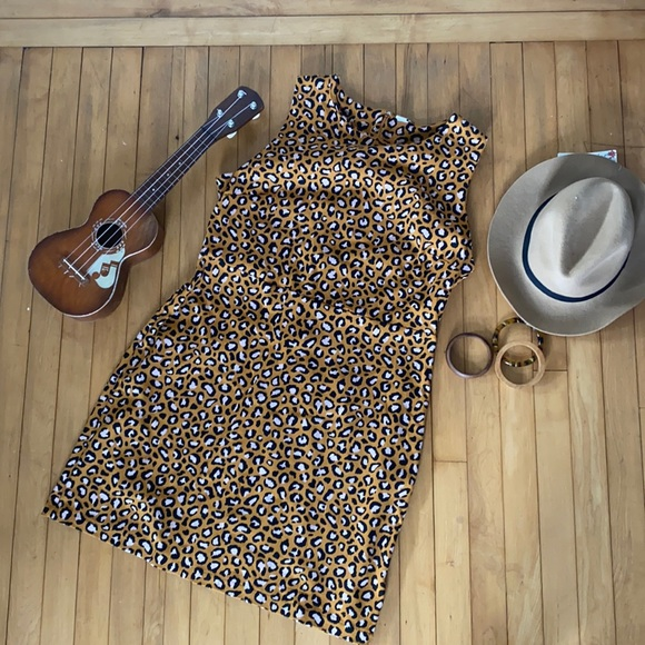Sleeveless Cheetah Shift Dress Ponte Knit